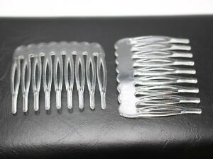 50 Clear Plastic Smooth Hair Clips Side Combs Pin Magic Grip Combs 46mm