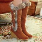 New Women Winter Snow Boots Mid-calf Rabbit Fur Wedge Black Brown Warm Shoes