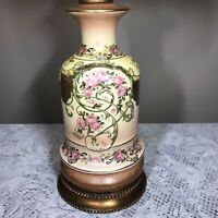Vtg Coronet Porcelain Gold Gilt Antique Looking Table Lamp Pink Roses Midcentury