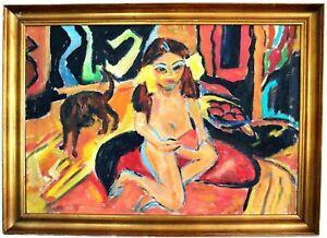 Großer Expressionist, Mädchen mit Katze, 1.Hälfte 20.Jh
