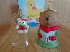 "TEDDY BEAR BELL ORNAMENTS Lot of 2 Porcelain Glass 3"" Christmas Vintage 1986"