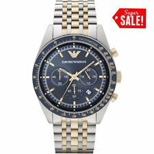 NEW EMPORIO ARMANI AR6088 TAZIO 2 TONE BLUE DIAL MEN'S CHRONOGRAPH WATCH GIFT