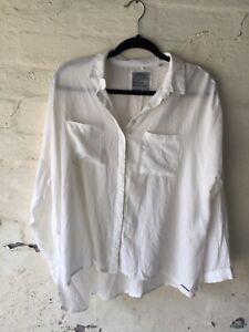 Superdry White oversized Blouse Size Medium