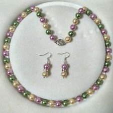 8mm multicolor Akoya Shell Pearl necklace AAA 18 inches Earring Set  c02