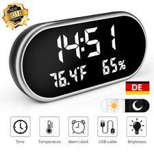 Digital Wecker LED dimmbar Display Alarmwecker Uhr Kalender Temperatur Dual USB