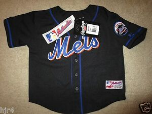 New York Mets MLB Black Rawlings Jersey Toddler 4T New deadstock