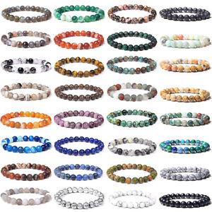 Natural Tiger Eye Bracelets Lapis lazuli Beads Bangle Elastic Women Men Jewelry
