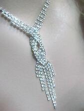 VINTAGE 1940-50 crystal RHINESTONE twist DROP tassel NECKLACE prong set POINTED