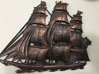 Set Vtg Homco Syroco Bronze Gold Sail Boat Ship Sailing Galleon HUGE Wall Art