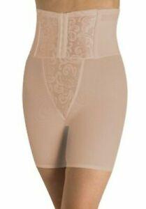 Cupid Extra Firm Control Waist Cinching Hook & Eye Long Leg Girdle beige large