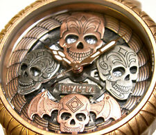 Invicta Bone Collector Distressed Rose Gold Silver Skulls Swiss New Mens Watch