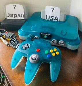 Genuine Nintendo 64 N64 Ice Blue Clear Funtasic Console OEM + GAMES *Region Free