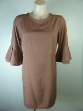 ASOS choc brown Flare Ruffle Bell Sleeve Slip dress sz 10
