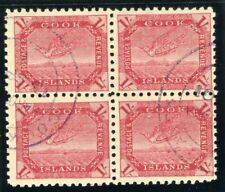 Cook Islands 1898 QV 1s red/thin toned paper in a block very fine used. SG 20.