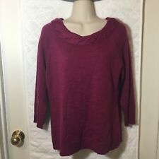 Coldwater Creek Sweater Women's Medium 10/12 Burgundy Wine Purple scoopneck B6