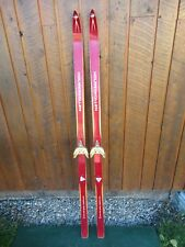 "ANTIQUE Wooden 62"" Long HICKORY Skis + Bindings+ Signed HOLMENKOLLEN"