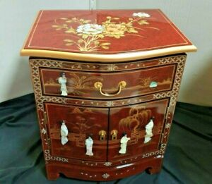 Red Lacquer Mother of Pearl 1 Drawer 1 Cupboard Cabinet