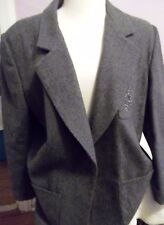 Melrose Options Womens Retro Gray 100% Wool Blazer Jacket Sz 1X- Very Nice!