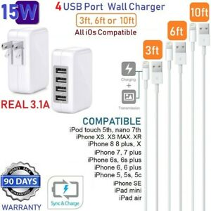 3ft,6ft,10ft USB Power Cable + 4 USB Cube Wall Charger For Apple iPad Pro,Air,Mi
