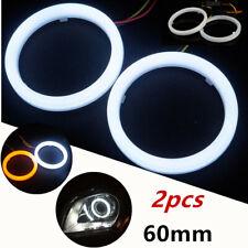 2x COB LED Angel Eyes Halo Ring Lamp Light w/Turn Signal White Amber Waterproof