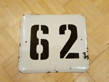 Vintage Soviet Porcelain Enamel Street Sign Number Plate № 62 PLAQUE USSR