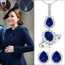 Kate Middleton Inspired 925 Silver Diamond Pendant Earrings Ring Jewelry Set