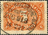 """ALLEMAGNE / Deutsches Reich 1922 Bahnpost """"FRANKFURT-KARLSRUHE-BASEL"""" ON Mi.194a"""