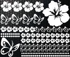 98 pièces Autocollants Pour Voiture Hibiscus Fleurs Papillons 32 Hawaï MURAL