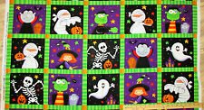 "Happy Haunting Squares Halloween Northcott Fabric  23"" Panel    #20589"