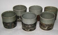 Vintage 6 Japanese Somayaki Tea Cups Double Wall Hearts Design