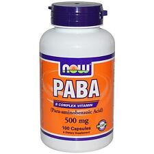 NOW FOODS - PABA - 500mg x 100 CAPS - VITAMIN B - HEALTHY HAIR, SKIN & NAILS