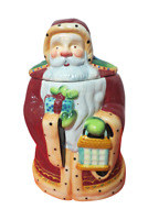 "Nonnis Santa Claus Ceramic Cookie Jar 12"" Tall Red Green Large Jar"