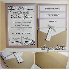 KRAFT WEDDING INVITATIONS DIY POCKETFOLD ENVELOPES BOX VINTAGE BROWN INVITE <C>
