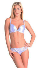 SUPERBE LILAS SATIN Designer Push Up Soutien-gorge UK 34B FRANCE 90B String Moyen 12 Set