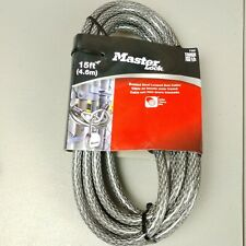 "Master Lock 15' Double Loop Cable 3/8"" Diameter Braided Steel Wire"