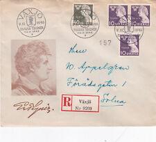 Sweden 1946 Esaias Tegner FDC Vaxjo CDS Registered Mail VGC