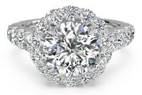 2.49 Ct Halo Brilliant Cut Diamond Engagement Ring  Solid 14KT White Gold