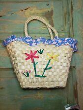 Vtg Woven Straw Raffia Purse Handbag Multi Color Flowers Lined kitchy retro