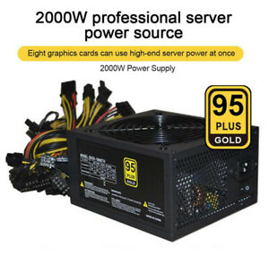 2000W Mining Power Supply Rated Power 1800W 8 GPU PSU ATX ETH Ethereum Miner