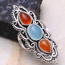 Chalcedony Carnelian Ethnic Gift Handmade Ring Jewelry US Size-9 AR 2550