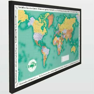Butler and Hill World Traveller Wall Map in a Black Frame (Green Sea)