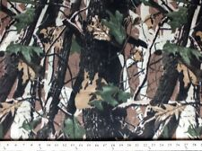 Camouflage Bark Fleece Fabric Print by the Yard A505.04