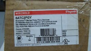 """New Wiremold LEGRAND 6ATC2PGY POKE THRU 6"""" Pre Wired Evolution GRAY FLOOR OUTLET"""