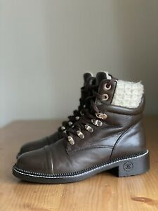 Authentic Chanel Brown Leather White Tweed CC Logo Combat Boots Size EU 37 US 7