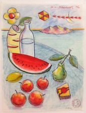 "Dimitris C. Milionis ""GREEK SUMMER III"" Signed Colored Drawing Paper Aegean 2002"
