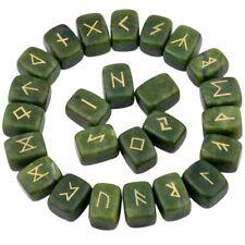 1Lot (25Pc) Green Jade Engraved Rune Stones Set Healing Reiki Crystal
