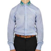 Alexander McQueen Blue Fine Cotton Contrasting Silk Collar Shirt IT46 UK36