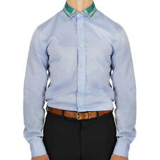 Alexander McQueen Blue Fine Cotton Contrasting Silk Collar Shirt IT46 UK36