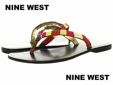 NWB Nine West Fiona Thong Leather Sandals Fashion Colorful Flip Flops Sz 8,5 -