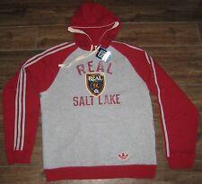 Adidas RSL Real Salt Lake HOODED SWEATSHIRT HOODIE HOODY TOP M MD RAGLAN HOOD